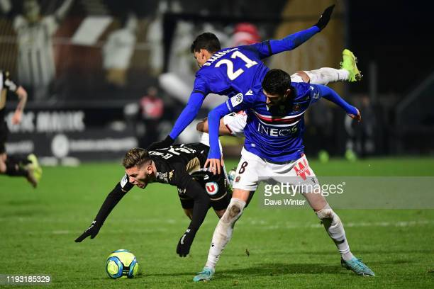 Farid EL MELALI of Angers DANILO of Nice and Pierre Lees MELOU of Nice during the Ligue 1 match between Angers and OGC Nice on January 11 2020 in...