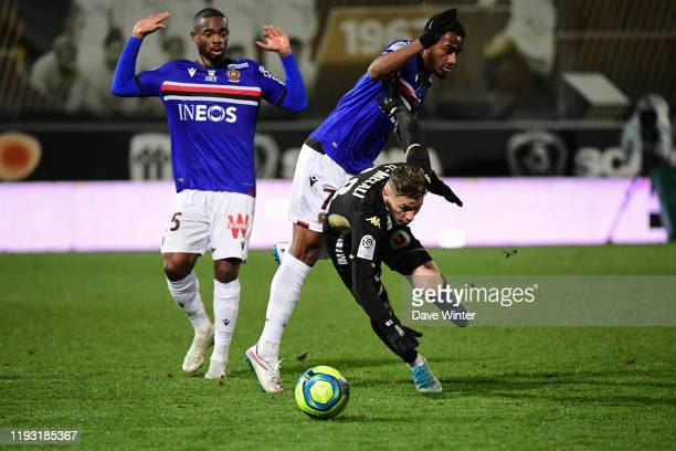 Farid EL MELALI of Angers Khephren THURAM of Nice and Wylan CYPRIEN of Nice during the Ligue 1 match between Angers and OGC Nice on January 11 2020...
