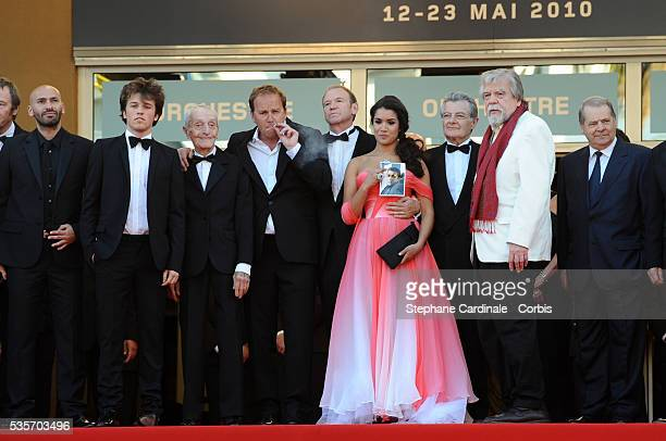 Farid Larbi Jacques Herlin Xavier Beauvois Xavier Maly Sabrina Ouazani Phillippe Laudenbach Michael Lonsdale and Loic Pichon at the premiere for 'Of...