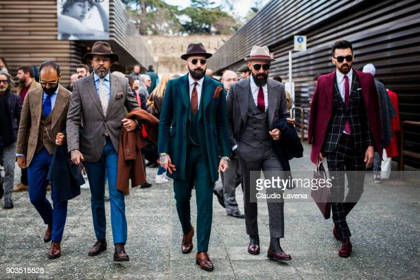 Farid Paulo Battista Rui Martins and guests wearing gentleman outifit are seen during the 93 Pitti Immagine Uomo at Fortezza Da Basso on January 10...