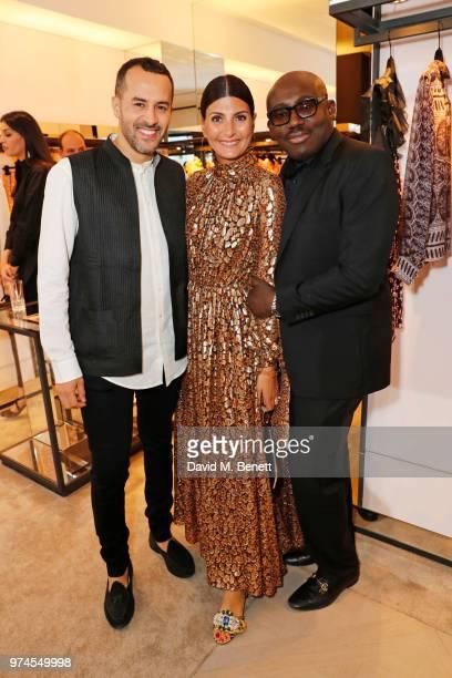 Farid Rebbali Giovanna Battaglia Engelbert and Edward Enninful attend the Giambattista Valli London store opening on Sloane Street on June 14 2018 in...