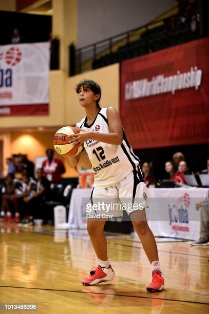 Farida Khaled Hassan Ahmed Radwan of Africa Middle East Girls handles the ball during the game against the Mexico Girls during the Jr NBA World...