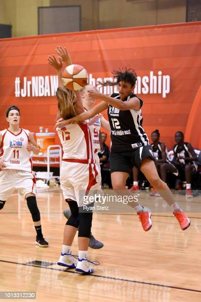 Farida Khaled Hassan Ahmed Radwan of Africa Middle East Girls passes the ball against Canada Girls during the Jr NBA World Championship on August 8...