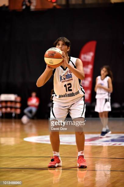 Farida Khaled Hassan Ahmed Radwan of Africa Middle East Girls shoots the ball during the game against the Mexico Girls during the Jr NBA World...