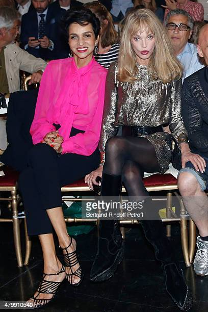 Farida Khelfa and Arielle Dombasle attend the Jean Paul Gaultier show as part of Paris Fashion Week Haute Couture Fall/Winter 2015/2016 on July 8...