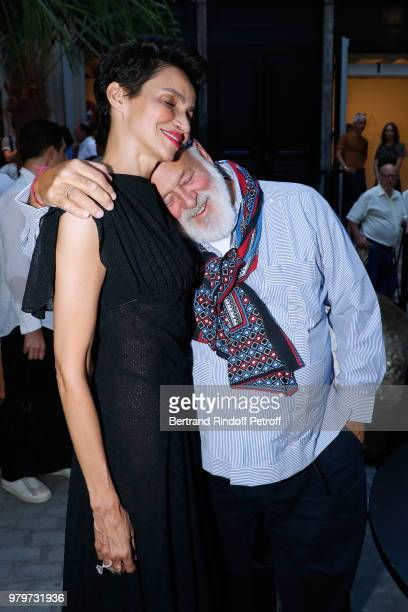 Farida Khelfa and Bruce Weber attend photographer Bruce Weber signs the book 'Azzedine Bruce and Joe' at Galerie Azzedine Alaia on June 20 2018 in...