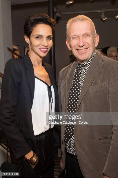 Farida Khelfa and Jean Paul Gaultier attend the Simon Bocanegra and Philippe Morillon Exhibition at la Galerie Du passage Pierre Passebon on October...