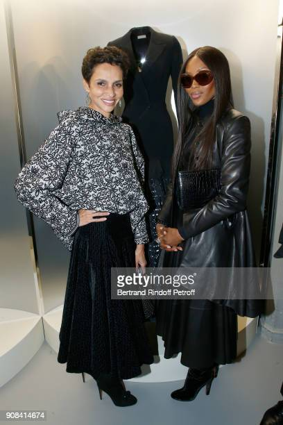 Farida Khelfa and Naomi Campbell attend the 'Azzedine Alaia Je Suis Couturier' Exhibition as part of Paris Fashion Week Held at 'Azzedine Alaia...
