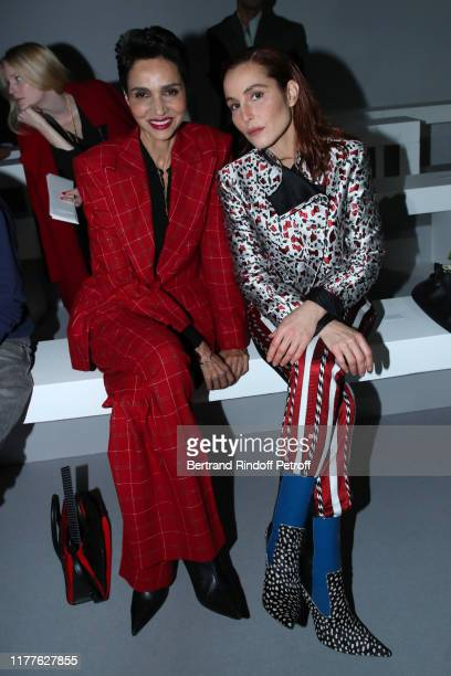 Farida Khelfa and Noomi Rapace attend the Haider Ackermann Womenswear Spring/Summer 2020 show as part of Paris Fashion Week on September 28, 2019 in...