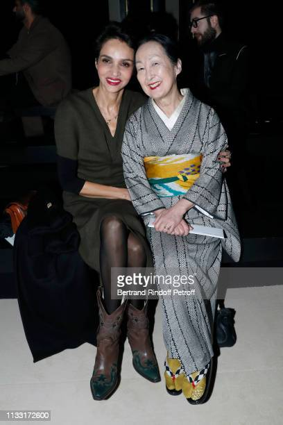 Farida Khelfa and Setsuko Klossowska de Rola attend the Haider Ackermann show as part of the Paris Fashion Week Womenswear Fall/Winter 2019/2020 on...