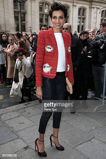 Farida Khelfa arrives at the Jean Paul Gaultier Haute Couture Spring Summer 2016 show as part of Paris Fashion Week on January 27 2016 in Paris France