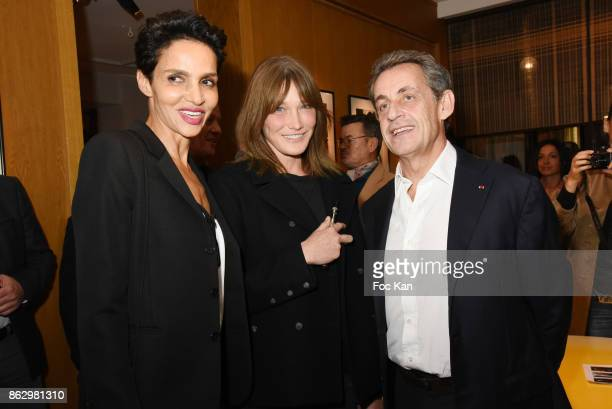 Farida Khelfa Carla Bruni and Nicolas Sarkozy attend the Simon Bocanegra And Philippe Morillon Exhibition At la Galerie Du Passage Pierre Passebon on...