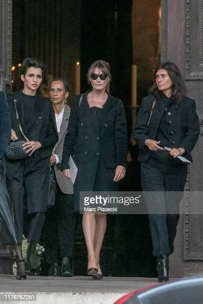 Farida Khelfa Carla Bruni Sarkozy and Emmanuelle Alt attend Peter Lindbergh's funerals at Eglise SaintSulpice on September 24 2019 in Paris France