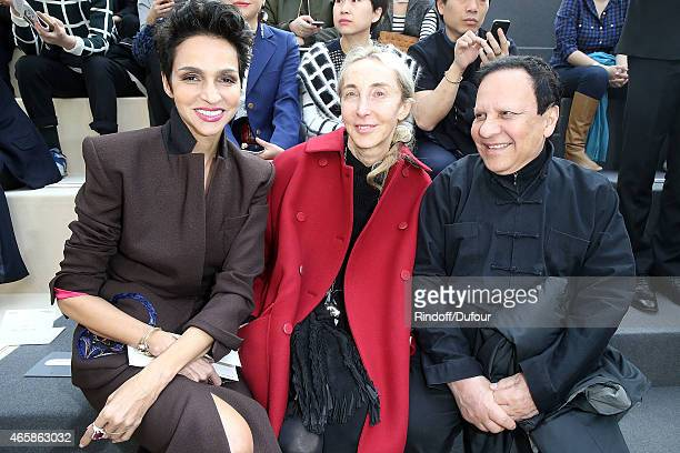 Farida Khelfa Carla Sozzani and Azzedine Alaia attend the Louis Vuitton show as part of the Paris Fashion Week Womenswear Fall/Winter 2015/2016 on...