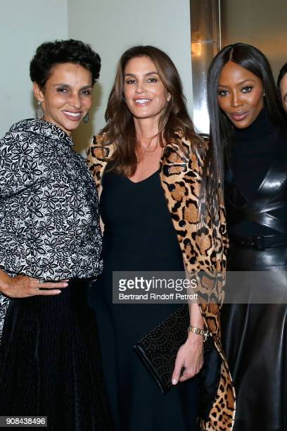 Farida Khelfa Cindy Crawford and Naomi Campbell attend the 'Azzedine Alaia Je Suis Couturier' Exhibition as part of Paris Fashion Week Held at...
