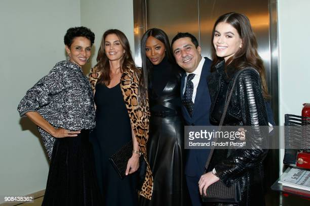 Farida Khelfa Cindy Crawford Naomi Campbell Montassar Alaya and Kaia Gerber attend the 'Azzedine Alaia Je Suis Couturier' Exhibition as part of Paris...