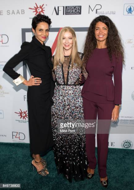 Farida Khelfa Founder of Fashion 4 Development Evie Evangelou and Afef Jnifen attend Fashion 4 Development's 7th Annual First Ladies Luncheon at The...