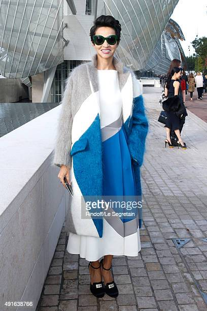 Farida Khelfa Seydoux attends the Louis Vuitton show as part of the Paris Fashion Week Womenswear Spring/Summer 2016 Held at Fondation Louis Vuitton...