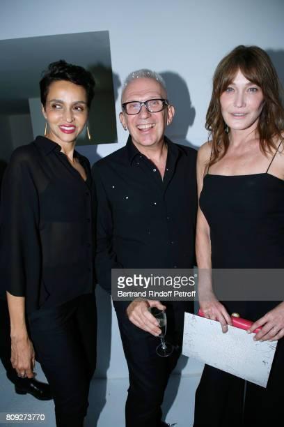 Farida Khelfa Seydoux stylist JeanPaul Gaultier and Carla BruniSarkozy attend the Jean Paul Gaultier Haute Couture Fall/Winter 20172018 show as part...