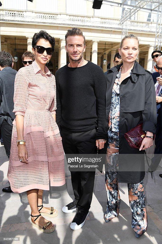 Farida Khelfa,David Beckham and Kate Moss attend the Louis Vuitton Menswear Spring/Summer 2017 show as part of Paris Fashion Week on June 23, 2016 in Paris, France.