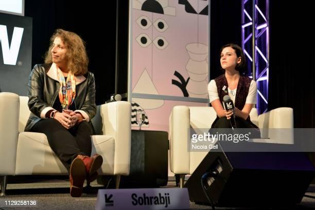 Farida Sohrabji and Alexandra Socha speak onstage at Featured Session Maria Shriver Alexandra Socha and Farida Sohrabji with Ashley C Ford during...