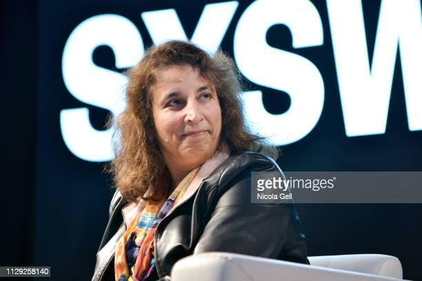 Farida Sohrabji speaks onstage at Featured Session Maria Shriver Alexandra Socha and Farida Sohrabji with Ashley C Ford during 2019 SXSW Conference...