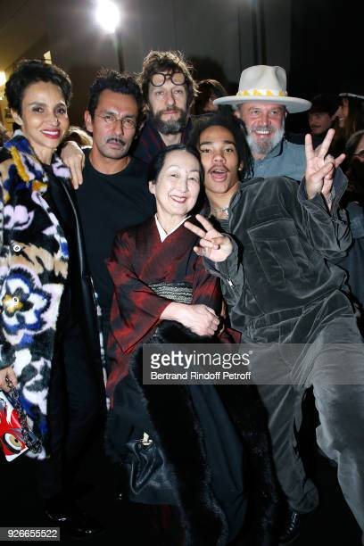 Faridah Khelfa Stylist Haider Ackermann Setsuko Klossowska De Rola Benoit Peverelli and Luka Sabbat pose after the Haider Ackermann show as part of...