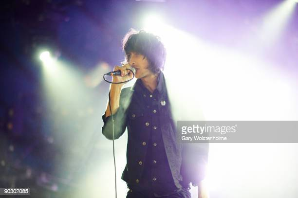Faris Badwan of The Horrors performs on stage on the last day of Leeds Festival at Bramham Park on August 30 2009 in Leeds England