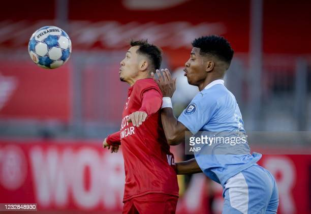 Faris Hammouti of Almere City, Shurandy Sambo or PSV U23 during the Dutch Kitchen champion division match between Almere City and Jong PSV at the...