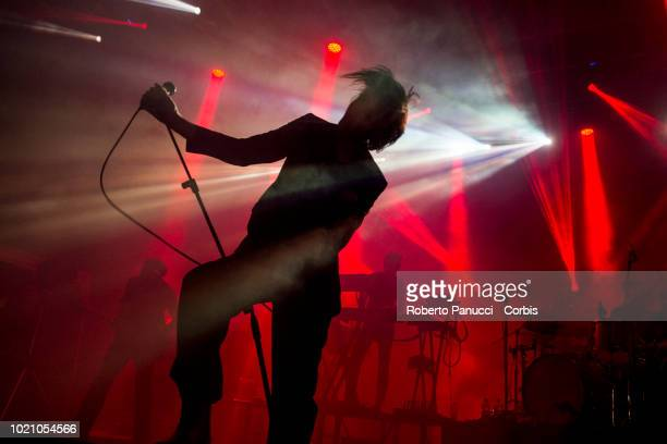 Faris Rotter and his group The Horrors perform on stage during Ypsigrock Festival on August 10 2018 in Castelbuono Palermo Italy