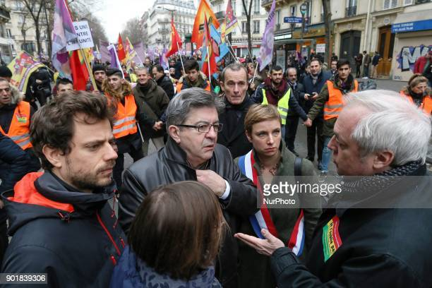 Farleft coalition La France Insoumise leader JeanLuc Melenchon and LFI member of Parliament Clementine Autain take part in a demonstration on January...