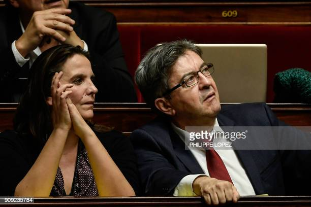 Farleft La France Insoumise party Members of Parliament Caroline Fiat and JeanLuc Melenchon attend a session of questions to the government at the...