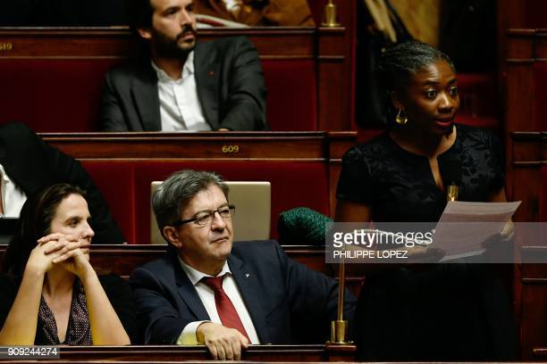 Farleft La France Insoumise party Members of Parliament Caroline Fiat and JeanLuc Melenchon listen to French leftist La France Insoumise parliament...