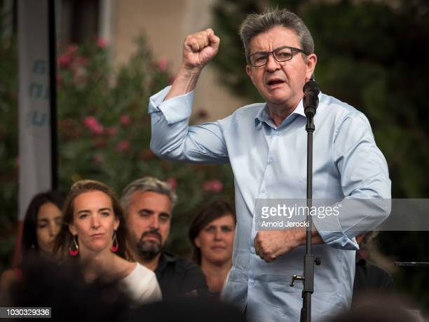 Farleft opposition 'France Insoumise' party's leader JeanLuc Melenchon holds a meeting during the LFI summer university on August 25 2018 in...