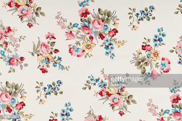 farleigh floral medium antique fabric - flower wallpaper stock pictures, royalty-free photos & images