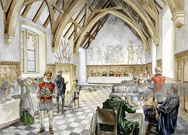 Farleigh Hungerford Castle c1660 Reconstruction drawing of the interior of the great hall in c1660 A medieval castle in Farleigh Hungerford Somerset...