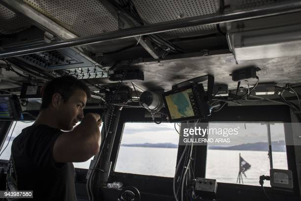 M/V Farley Mowat's captain Tomas remains at the bridge while navigating near San Felipe in the Gulf of California Baja California state northwestern...