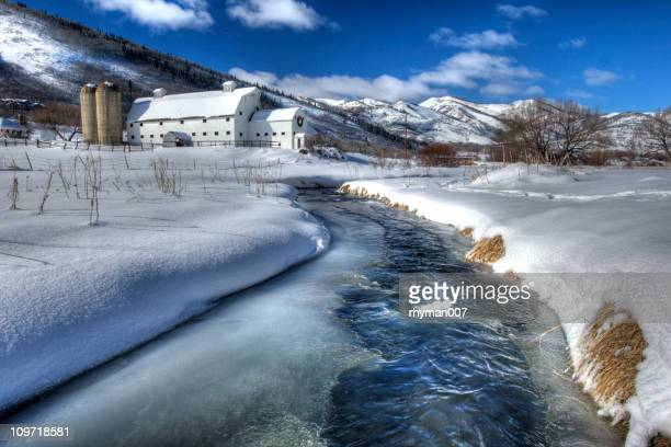 farm after the snowstorm. - park city utah stock pictures, royalty-free photos & images
