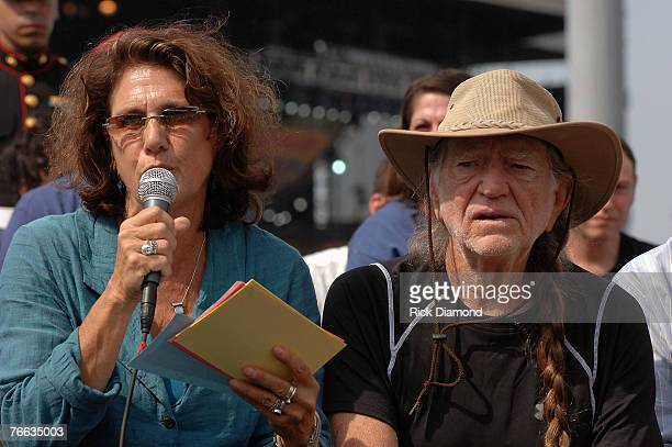 Farm Aid Director Carolyn Mulgar and Farm Aid Founders, Willie Nelson, answer questions during The Farm Aid 2007 Press Confrence at ICAHN Stadium on...