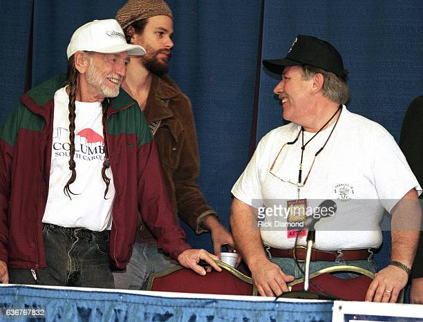 Farm Aid founder Willie Nelson and Singer/Songwriter John Conlee attend press conference during Farm Aid 1996 hosted by Hootie the Blowfish at...