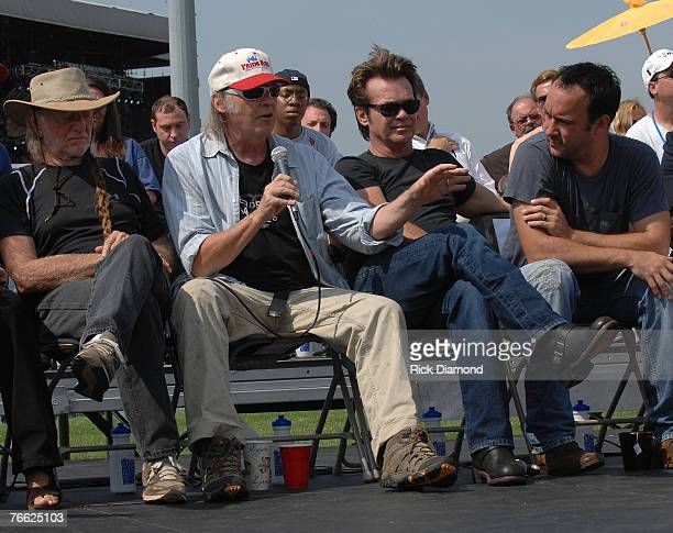Farm Aid Founder Willie Nelson Neil Young John Mellencamp and Dave Matthews during The Press Confrence at Farm Aid 2007 at ICAHN Stadium on Randall's...