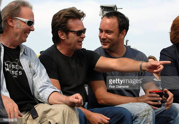 Farm Aid founding members, Neil Young and John Mellencamp along with Board Member Dave Matthews, answer questions during The Farm Aid 2007 Press...