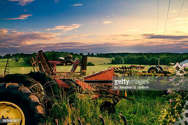 farm equipment & field - eubank stock photos and pictures