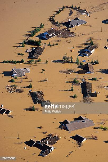 farm flooded by feather river - california flood stock photos and pictures
