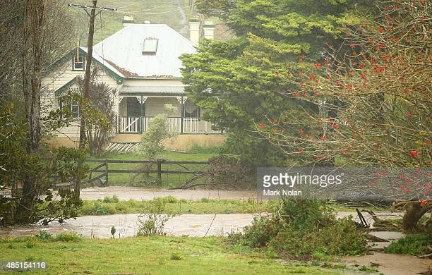 A farm house downstream of Jerrara dam is cutt off by flood waters down stream of Jerrara dam during flooding effecting the area on August 25 2015 in...