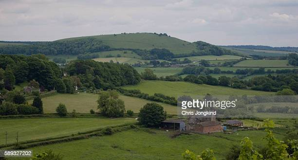 farm in hilly countryside - gillingham stock pictures, royalty-free photos & images