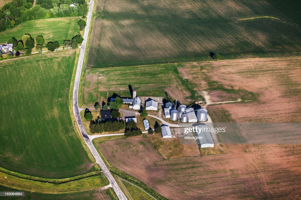 Farm in Northern Illinois, from above : Stock Photo