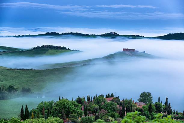 Farm In Tuscany At Dawn Wall Art