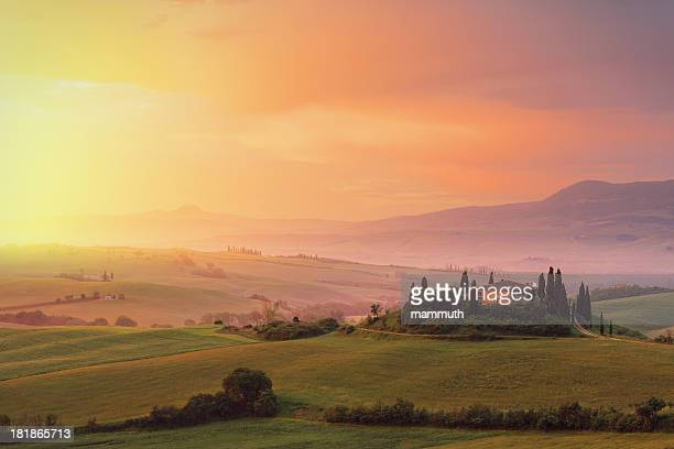 farm in tuscany at dawn - italy stock pictures, royalty-free photos & images