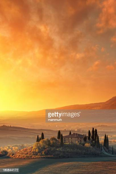 Farm in Tuscany at sunrise.